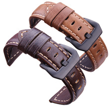 Handmade Retro Genuine Leather Watchbands Strap 22mm 24mm Dark Brown Watch Band Belt With Silver Stainless Steel Buckles For PAN