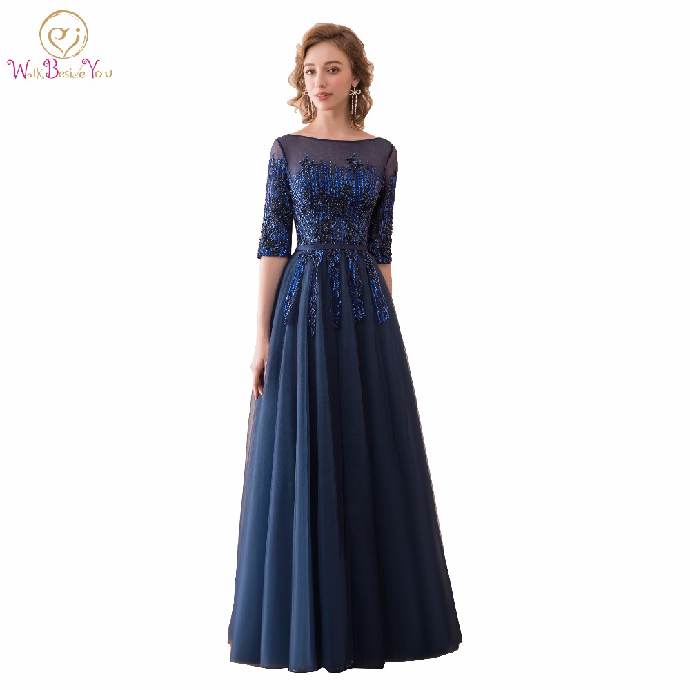 Walk Beside You Navy Blue Prom Dresses vestido formatura Evening Party Gown  Graduation 3 4 Sleeves Long Lace Free Shipping e708b9a9ae83