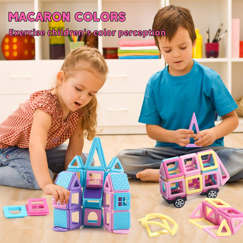 Magnetic Construction Set Educational Building Blocks Kids DIY Tiles Toy 124PCS