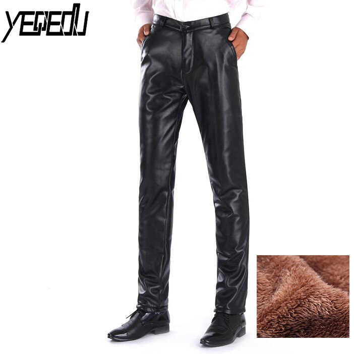 e58b602eb8e  2208 Winter Middle-aged Men Trousers PU Faux Leather Pants Thick Warm  Windproof Waterproof