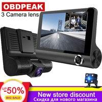 Dash cam 3 камеры s объектив 4,0 дюймов Автомобильный dvr камера 3 объектива с заднего вида видеокамера авторегистратор Full Hd 1080 P русский язык