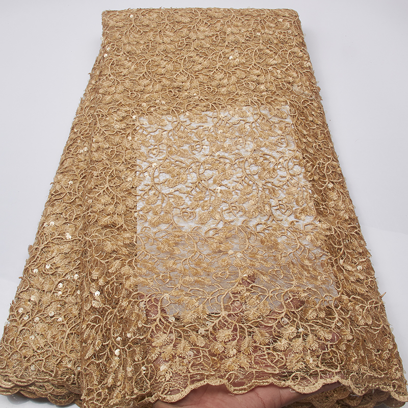 Gold Sequin Lace Fabric Full Soft Lace New Pattern Lace African Lace Fabric For Wedding MR2536B
