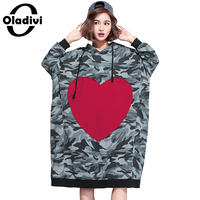 Oladivi Plus Size Women Hoodies Dress Love Pattern Casual Sweatshirt Tunic Lady Fashion Oversize Camouflage Print Hooded Dresses