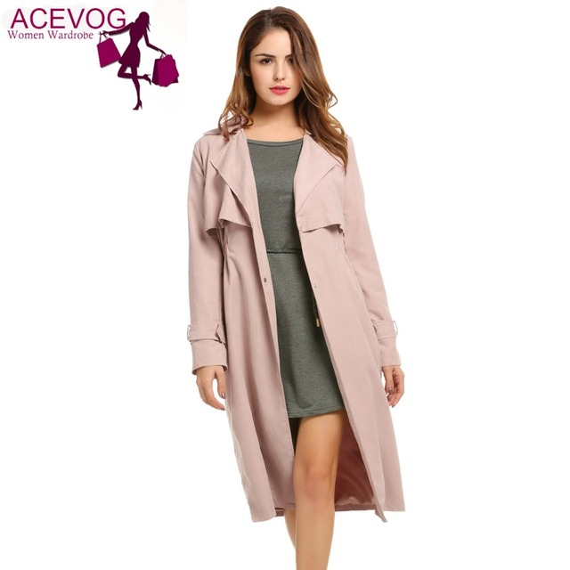 ACEVOG Women Loose Coat Lapel Single-breasted Casual Lightweight Cape Long Trench Duster Coat Mid-Calf  With Pocket Solid Color