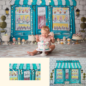 Image 2 - יילוד תינוק מקלחת צילום תמונה רקע יום הולדת פרחוני רקע צלם סוכריות קרח קרם ורוד בובות קישוט
