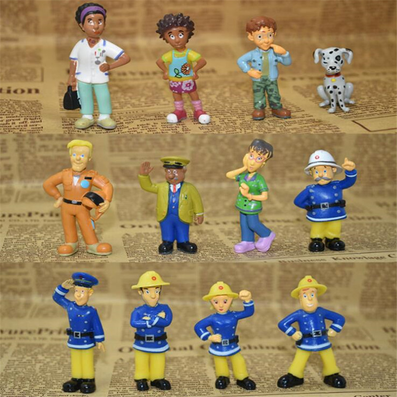 Hot Sell 12 Pcs/Set Anime Fireman Sam Action Figure 3-6 cm Cute PVC Figure Model Doll Juguetes Kids Toys Christmas Gifts