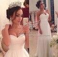 9067 белого цвета слоновой кости свадебное платье 2016 свадебное платье шифон пляж размер одежды 2 4 6 8 10 12 14 16 18 20 22 24 26