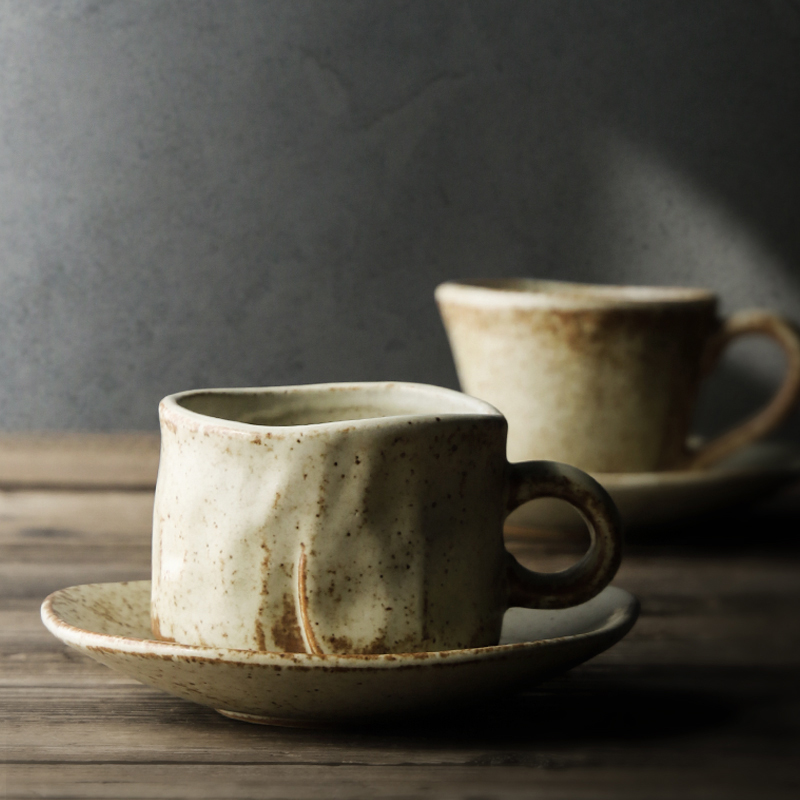 Japanese Style Handmade Pottery coffee cup saucer Vintage coffee cup set   Creative Afternoon Tea Cup espresso cups  gifts