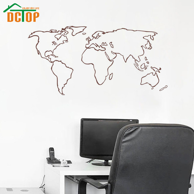 Dctop large world map wall stickers home decor living room removable dctop large world map wall stickers home decor living room removable map outline wall decals vinyl gumiabroncs Choice Image