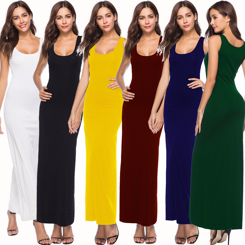 S-3XL Women Sexy Robe Sleeveless Maxi Dress Thin Tank Long Dress Solid Color Summer 2019 Elegant Women Dress Stretch Vestidos