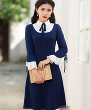 Free Shipping Retro Collage Style Flare Sleeve Peter Pan Collar Color Block  Woman Slim Dress Blue