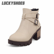 [LuckyShoes]2016 Autumn/Winter New PU Fashion Boots Women's Boots Buckle Black/Gray/Red Ankle Concise Low Heel Woman Shoes