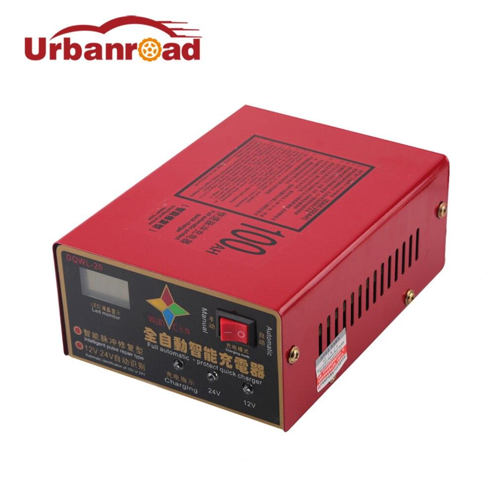 Urbanroad Moto Auto Batterie De Voiture Chargeur 12 v Intelligent Automatique 100ah 12 v 24 v Batterie De Voiture Chargeur Réparation D'impulsion Type