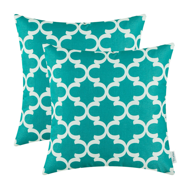2PCS Square CaliTime Cushion Cover Pillows Shell Quatrefoil Accent Geometric Home Sofa Decor 20 X 20(50cm X 50cm) Teal