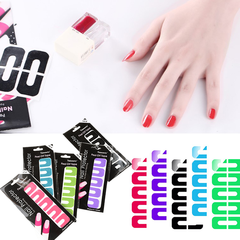 5 Color U Shape Tips L Off Nail Art Tape Anti Overflow Glue Gel Polish Protecter Sticker Edge Tool M02055 In Hair Clips Pins From