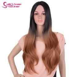 Sallyhair-perruques synthétiques longues ondulées naturelles, cheveux Ombre, gris, violet, 26 pouces, résistantes à la chaleur, sans frange