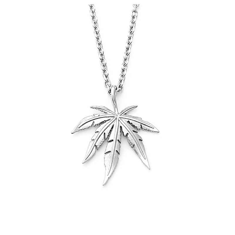 Hip-hop Hemp Leaf Multi-layer Titanium Steel Necklace Personality Stainless Steel Geometric Type Maple Leaf New Blade Chain