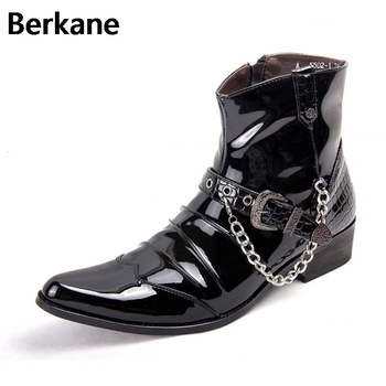 Black Patent PU Leather Chain Men Boots Mens Glossy Shoes Male Casual Buckle Ankle Motorcycle Boot Bota Masculina Pointed