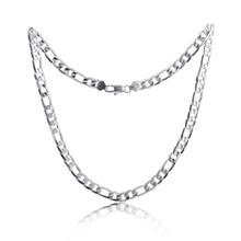 Чистое Серебро 925 ожерелье s для мужчин 4 мм Фигаро цепочка ожерелье 16-30 дюймов Длинное колье модные ювелирные аксессуары заводская цена