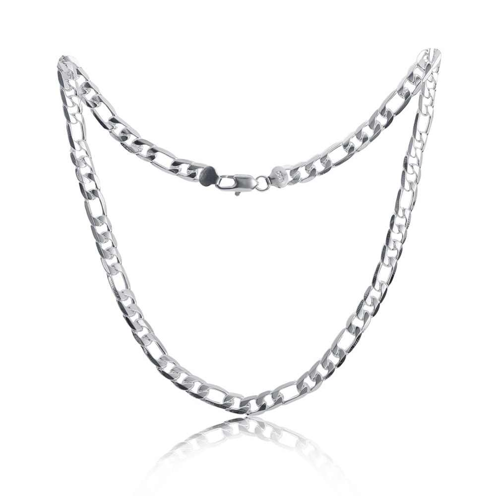 Pure Silver 925 Necklaces for Men 4mm Figaro Chain Necklace 16-30inch Long Collier Fashion Jewelry Accessories Factory Price