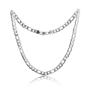 Pure Silver 925 Necklaces for Men 4mm Figaro Chain Necklace 16-30inch Long Collier Fashion