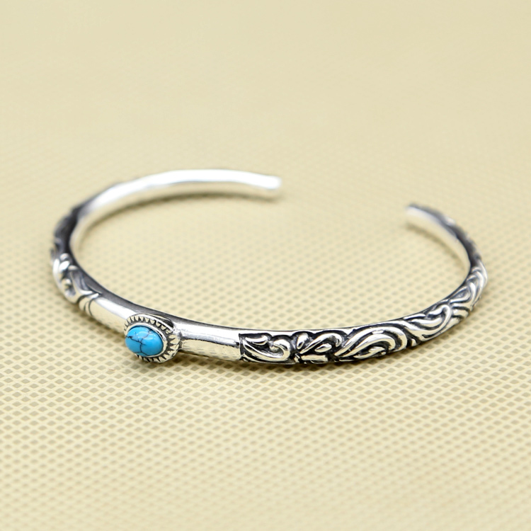 100% Real Pure 925 Sterling Silver Women Cuff Bangle&Bracelet With Blue Stone Vintage Indian Style Elegant Narrow Band Bracelet