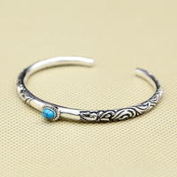 100% Real Pure 925 Sterling Silver Women Cuff Bangle&Bracelet Lab Turquoise Stone Vintage Indian Style Elegant Narrow Band Gifts