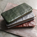 NEW fashion Original individuality tide vintage men and women long leather wallet head layer cowhide oil wax wallet large clutch