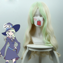 Little Witch Academia Daiana Cavendish Cosplay Paryk för kvinnor Lång Curly Wavy Synthetic Hair Wig för Kostym Party Beige Green