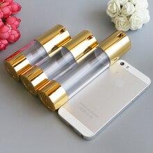 Yeni Altın Kozmetik havasız losyon şişesi özü serum Ambalaj pompa şişeleri 15 ml 30 ml 50 ml Boş Makyaj Kapları 100 adet/grup