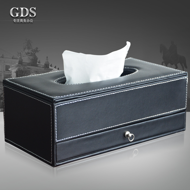 PITEBO  leather covered tissue box napkin case holder with 3-cell drawer office home accessory decoration blackPITEBO  leather covered tissue box napkin case holder with 3-cell drawer office home accessory decoration black