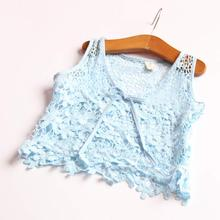 Crocheted Vest Toddler Girls Openwork Lace Vest Breathable Cotton Wild Child Baby Crochet Blouse With A Skirt Lady