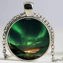Northern Lights Pendant Necklace Space Nebula Aurora Borealis Green Photo Charm Handmade Vintage Necklace Women Jewelry
