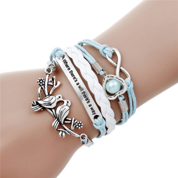 Infinite Leather Multilayer Charm Bracelet