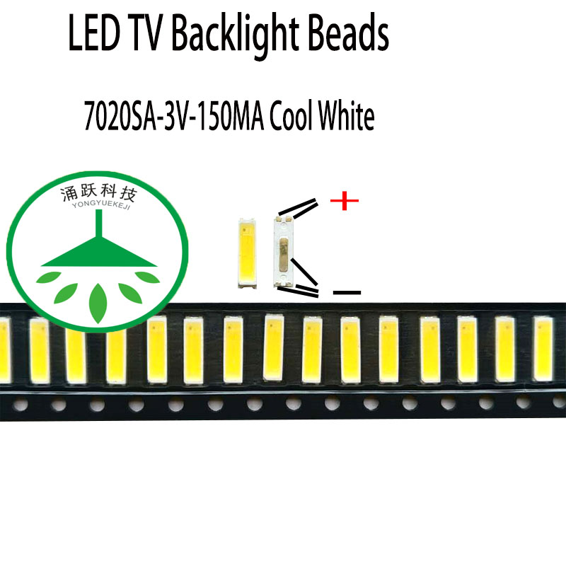 100pcs/Lot New Smd Led 7020sa 3v 150ma Lamp Beads Cool White For Repair Led Lcd Tv Backlight Bar And Strip Hot