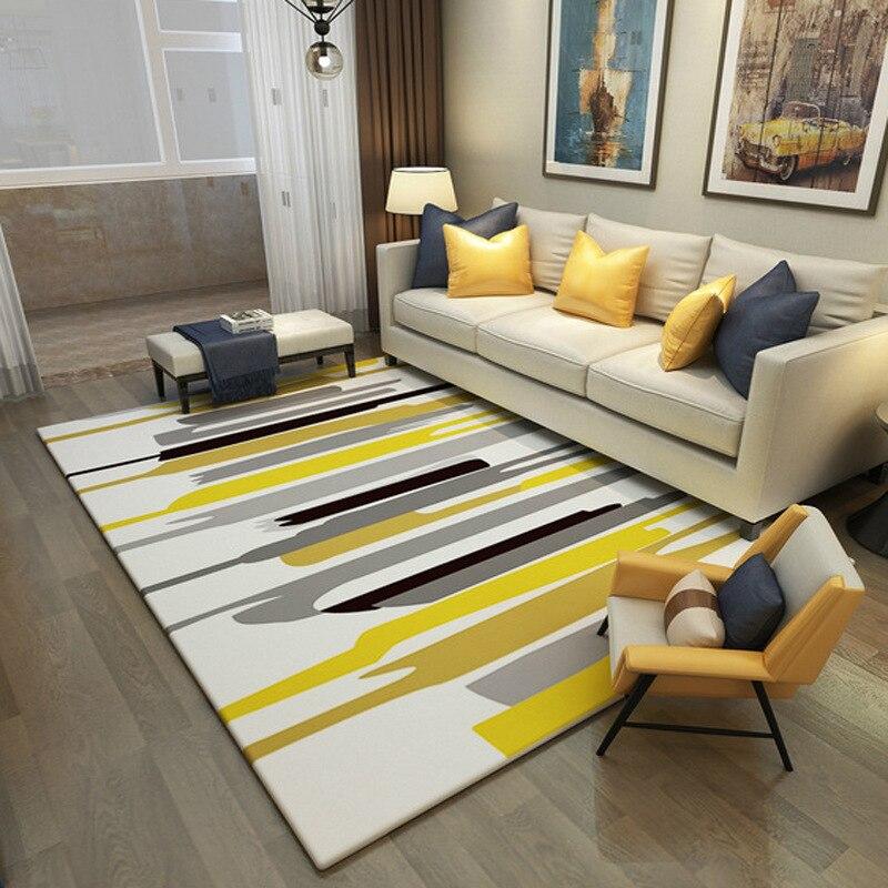 Simple moderne mode nordique salon tapis chambre lit complet doux corail velours tapis rectangulaire canapé Table basse tapis