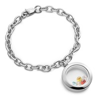 Promotional Hot Selling 25mm Birthday Stone Surgical 316L Stainless Steel Locket Link Bracelet 10pcs