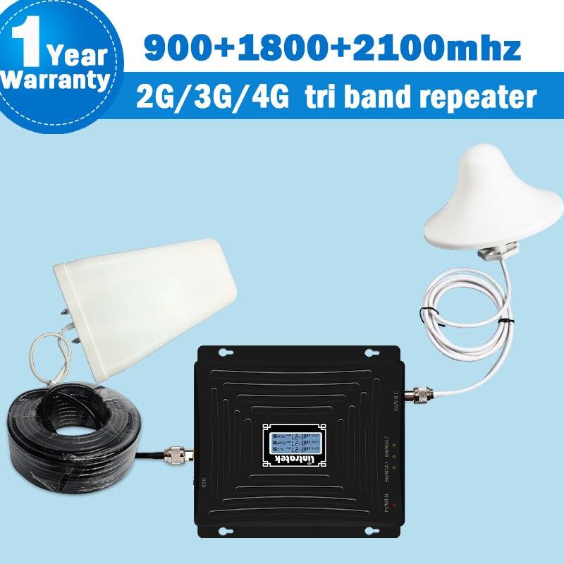 NOVO Tri Band Repetidor GSM 900/1800/2100 mhz 65dB 4 3 2g g g (Banda 3) DCS 1800g 2100 Banda 1 3 Conjunto Móvel Reforço de Sinal De Celular 2100 amplificador de celular gsm dcs 1800 mhz celular repetidor impulsionador