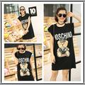 Além de grande tamanho mulheres roupas vestido de verão 2016 vestidos estilo coreano fina preto branco solto vestido doce bonito dos desenhos animados urso A0424