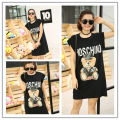 plus big size women clothing dress 2016 summer style vestidos korean white black thin loose cute sweet dress cartoon bear A0424