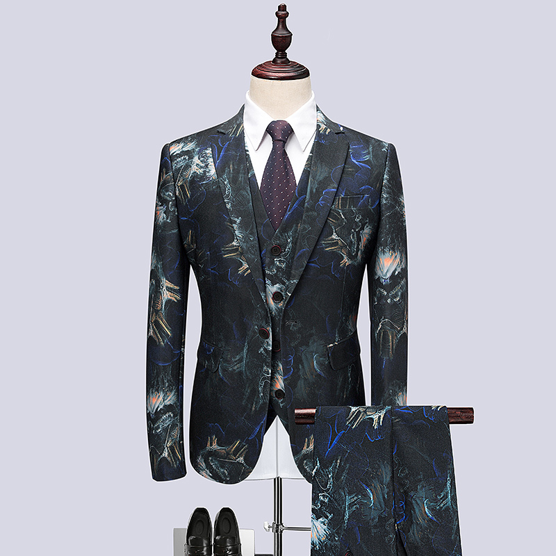 Jacket+Pant+Vest Suit Men Brand New Slim Fit Mens Floral Suits Business Formal Wear One  ...