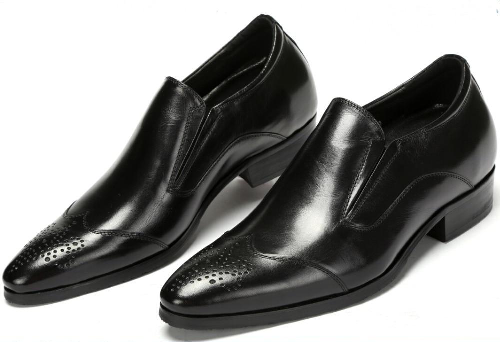 Black brown tan mens hidden heel shoes genuine leather for Black dress shoes for wedding