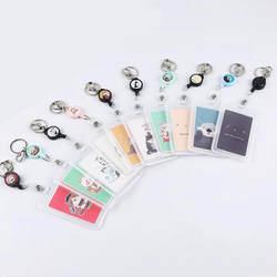 1 шт. простой прозрачный держатель значка пластиковая карточка крышка банка держатель для карт Id держатель для карт выдвижной ключ
