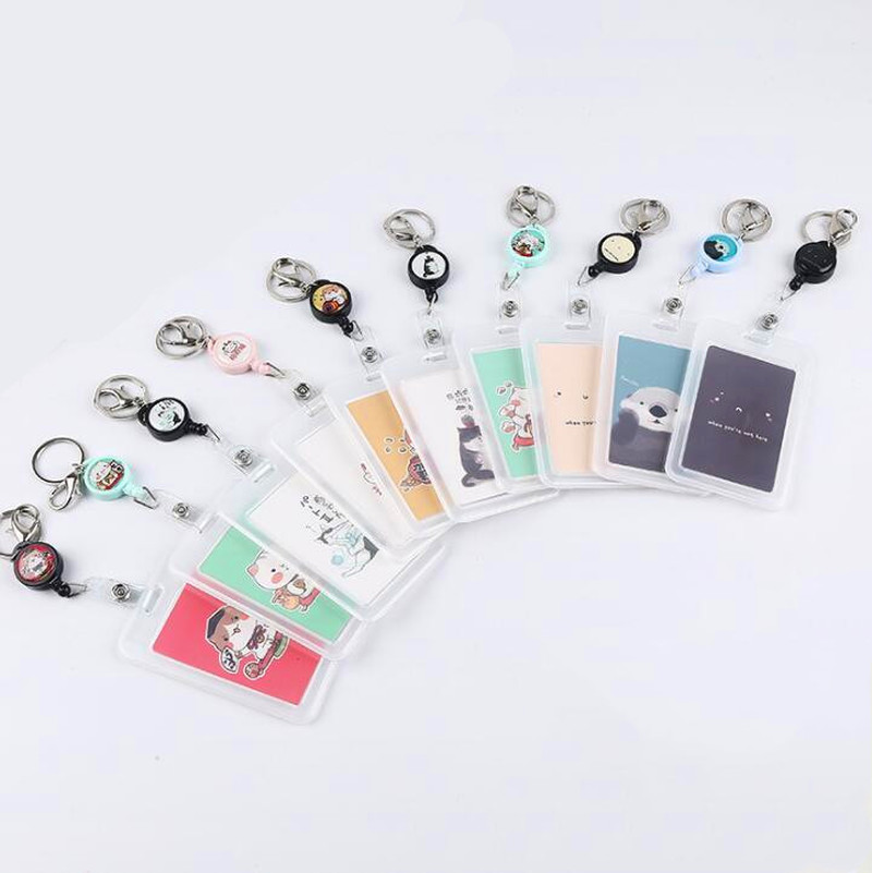 1pc Simple Transparent Badge Holder Plastic Name Card Cover Bank Card Holder Id Card Holder Retractable Key Holder