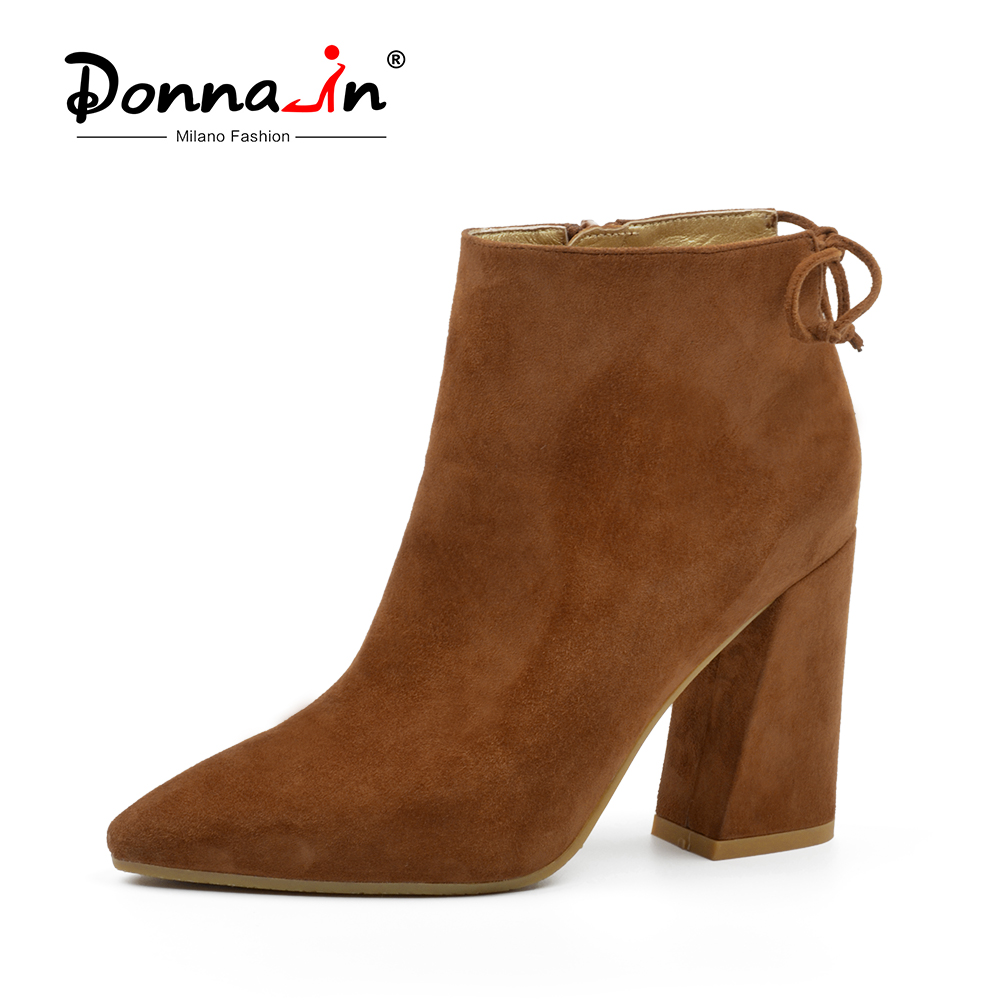 Donna-in 2018 Autumn Ankle Boots for Women High Heels Pointed Toe Genuine Leather Lady Boots Fashion Sexy Suede Shoes Women drop shipping 2015 fashion arrive sexy full grain leather lady high heels motorcycle boots for women genuine leather ankle boots