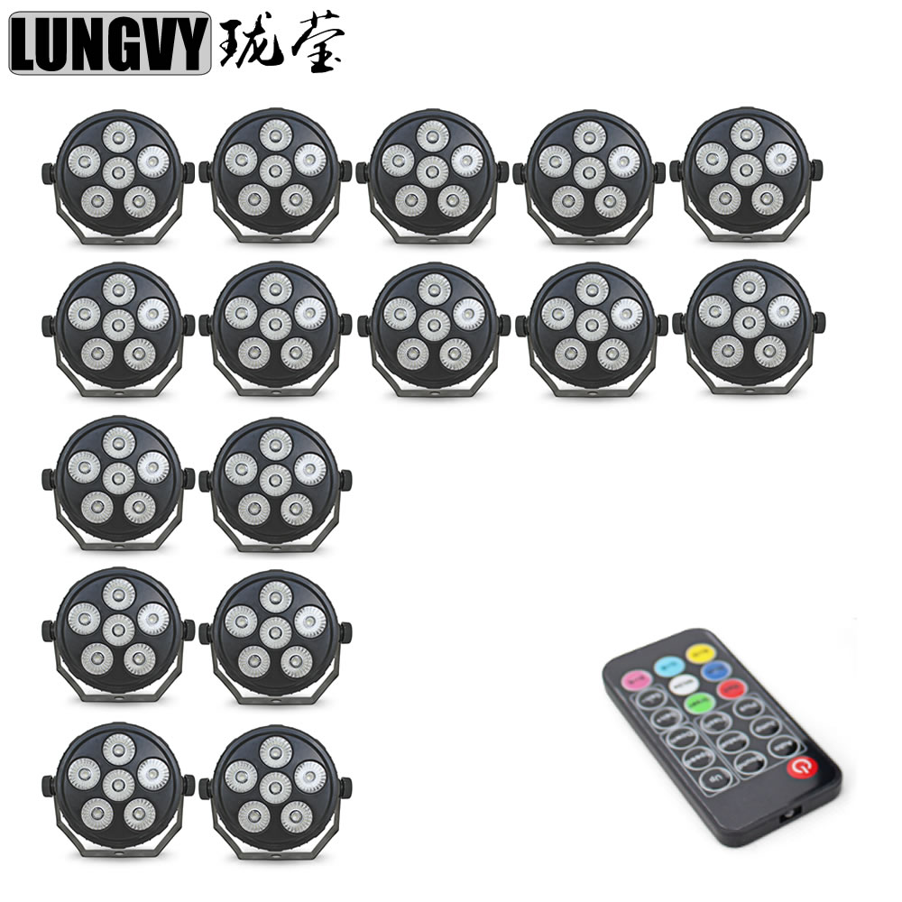 Free Shipping 16pcs/Lot New Arrival 6X6W Plastic Mini Led Flat Par Light RGBW Stage Lights Business Light with Professional DJ free shipping 16 lot dmx 18x10w rgbw led par can light for stage decoration