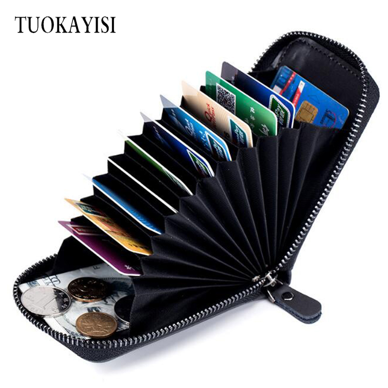 new Men Genuine Leather Business Card Holder ID bank name card holder wallet for Women credit cards Multifunctional purse 26 slots genuine leather women men id card holder card wallet purse credit card business card holder protector organizer dc29