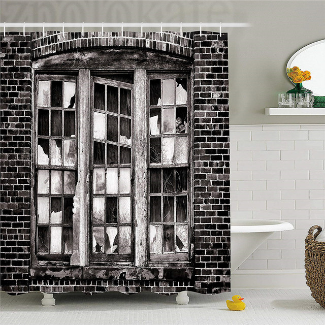 Industrial Shower Curtain Broken Window Missing Glass Pane Derelict Blight Factory Brick Wall Fabric Bathroom Decor Set With H