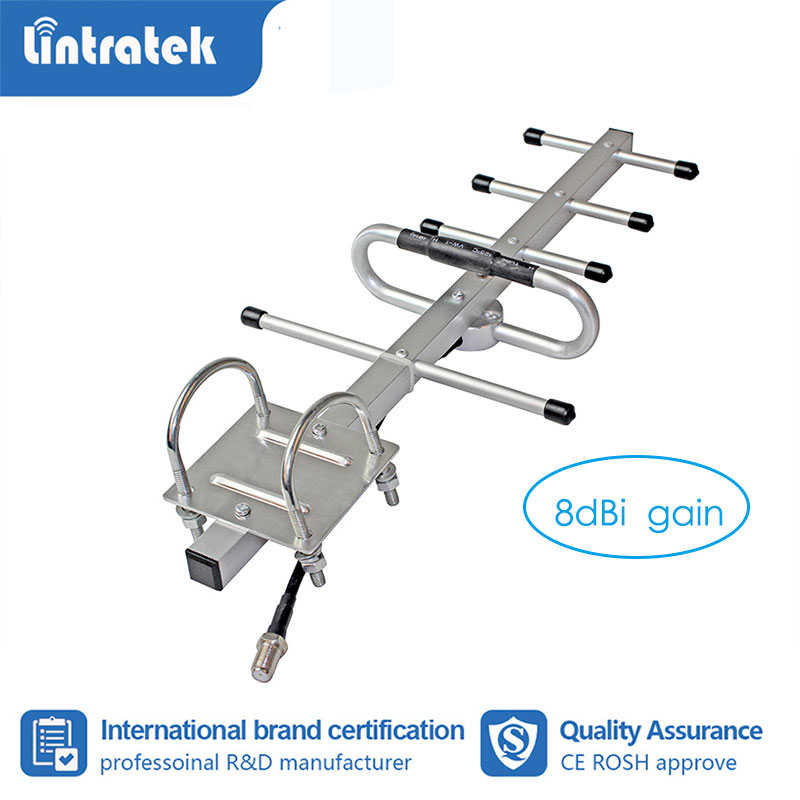 Lintratek 8dB Gain 5 Units Yagi Antenna GSM CDMA Outdoor Antenna N Female For Cell Phone Signal Booster Repeater Amplifier S6