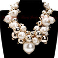 2015 Fashion Gold Chain 5 Colors Pearl Beads Cluster Choker Bib Pendant Necklace Perfect Party Valentine's Wedding Gift